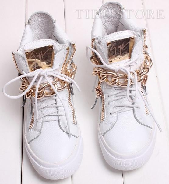 Fashion Metal Chain Flat Comfortable Shoes with Zipper: tidestore.com
