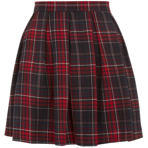 Red Tartan Check Skater Skirt - Polyvore