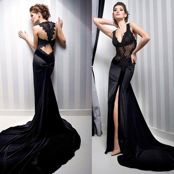 Long Dresses Online 2015 Sexy Elegant Long Mermaid Black