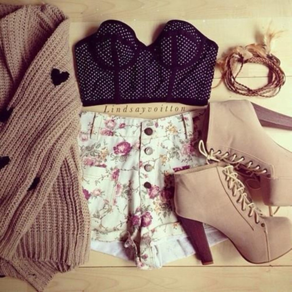 shorts shoes crop tops flowers jewels summer sweater top