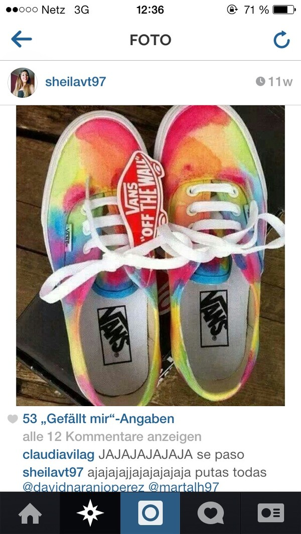 shoes ocean rainbow colourful vans vans of the wall colorful
