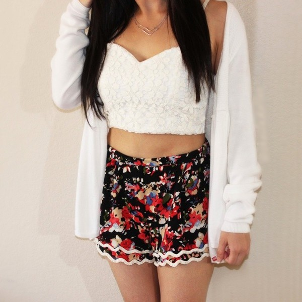 shorts foral crop top flowered shorts cardigan