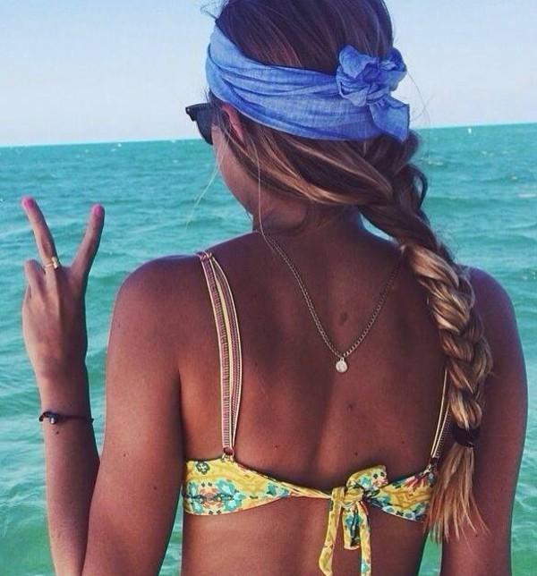 swimwear swimwear bikini yellow hair accessory