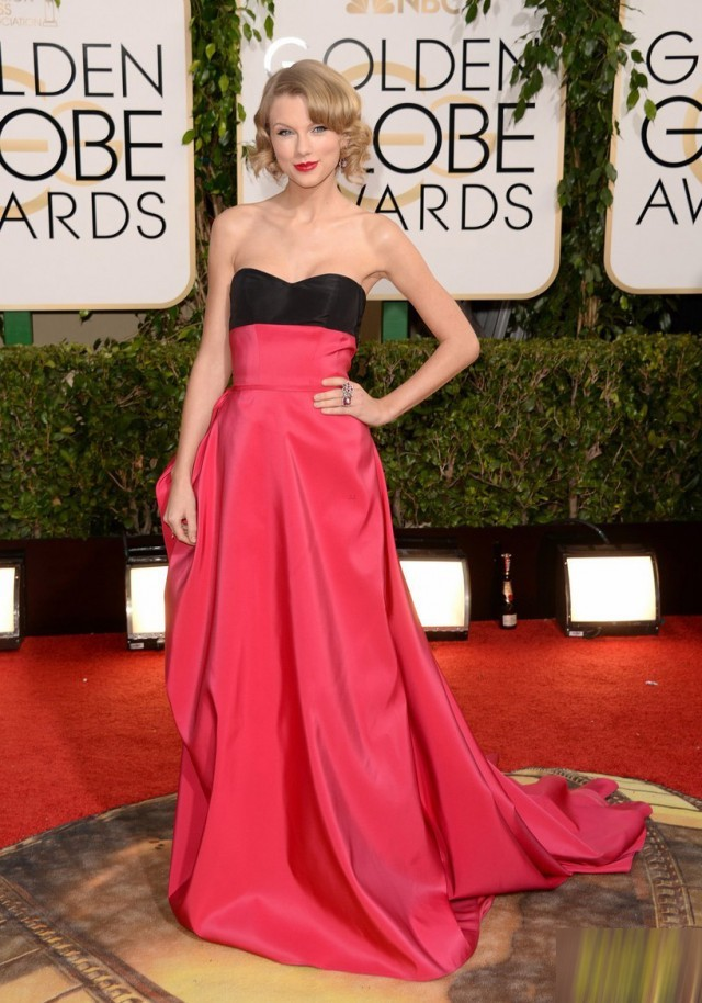 Taylor Swift  New arrival 2014 Sheath Sweetheart Strapless Floor Length Long Black/Red Taffeta Celebrity Dress-in Celebrity-Inspired Dresses from Apparel & Accessories on Aliexpress.com