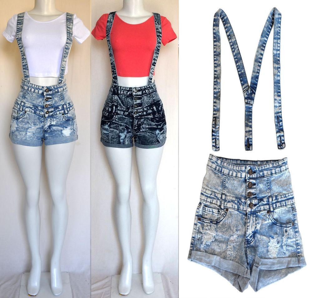 High Waisted Overall Shorts