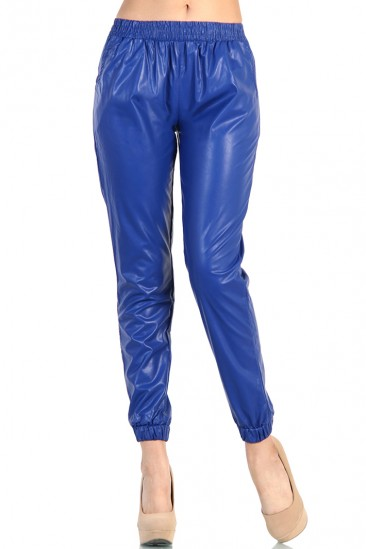 OMG LEATHER TRACK PANTS - Blue