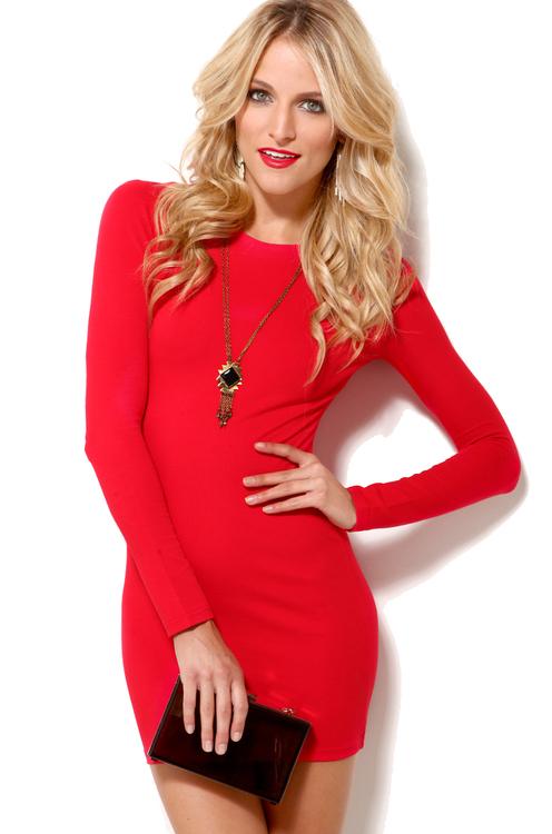 Six Crisp Days Long Sleeve Knit Mini Dress in Red