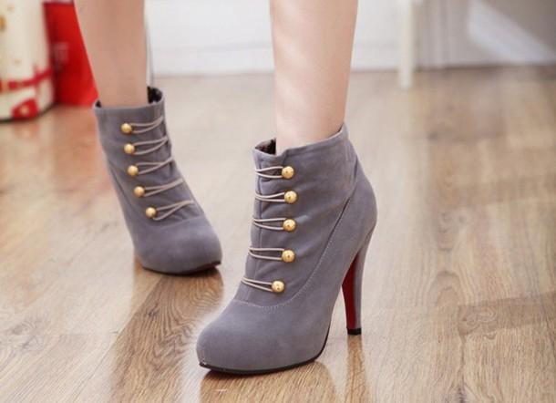 shoes grey grey heels heels cute cute high heels gold gold buttons pretty pretty heels boots ankle boots heel boots ankle boot heels