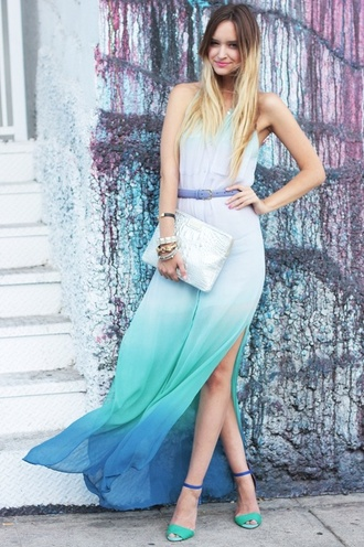 dress maxi dress ombre dress ombre women's summer dress shoes long dress no sleeves slit skirt loose bag silver bag clutch metallic clutch blue dress summer outfits sandals high heel sandals blue sandals waist belt belt silver clutch zara zara shoes sandal heels late afternoon blogger