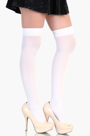 LoveMelrose.com From Harry & Molly | THIGH HIGH STOCKINGS - White