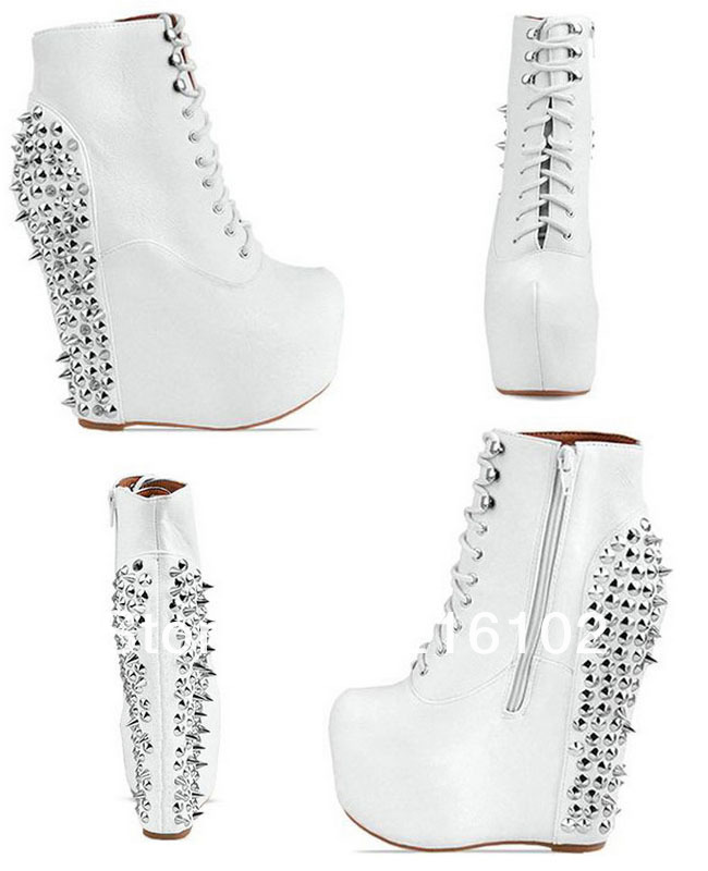 Fashion Punk Studded Spike Wedge Martin Boots Jeffrey Campbell High Heel Ankle Boots Leather Rivets Shoes Riding Boot KFS235-in Boots from Shoes on Aliexpress.com