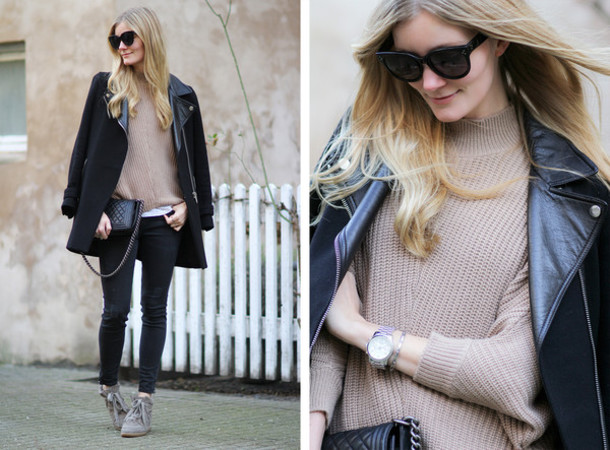 passions for fashion blogger black coat winter sweater beige sweater jeans jacket shoes sunglasses bag