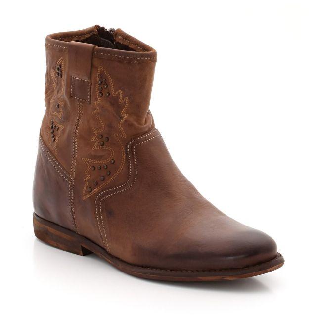 Boots cuir vieilli compensé intérieur Soft Grey | La Redoute