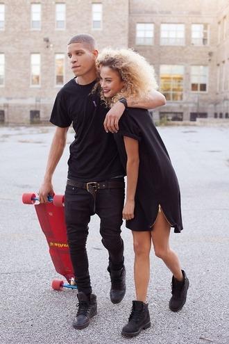dress timberlands little black dress shoes couple urban matching couples natural hair skateboard menswear all black everything shirt black oversized t-shirt long tee belt skinny pants skinny jeans t-shirt