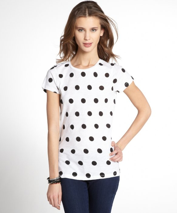 French Connection white and black cotton jersey 'Sonny Spot' tee   BLUEFLY up to 70% off designer brands