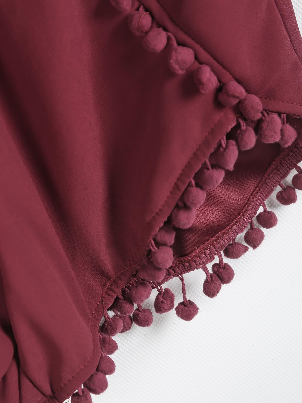 Red Elastic Waist Twisted Ball Embellished Shorts - Sheinside.com