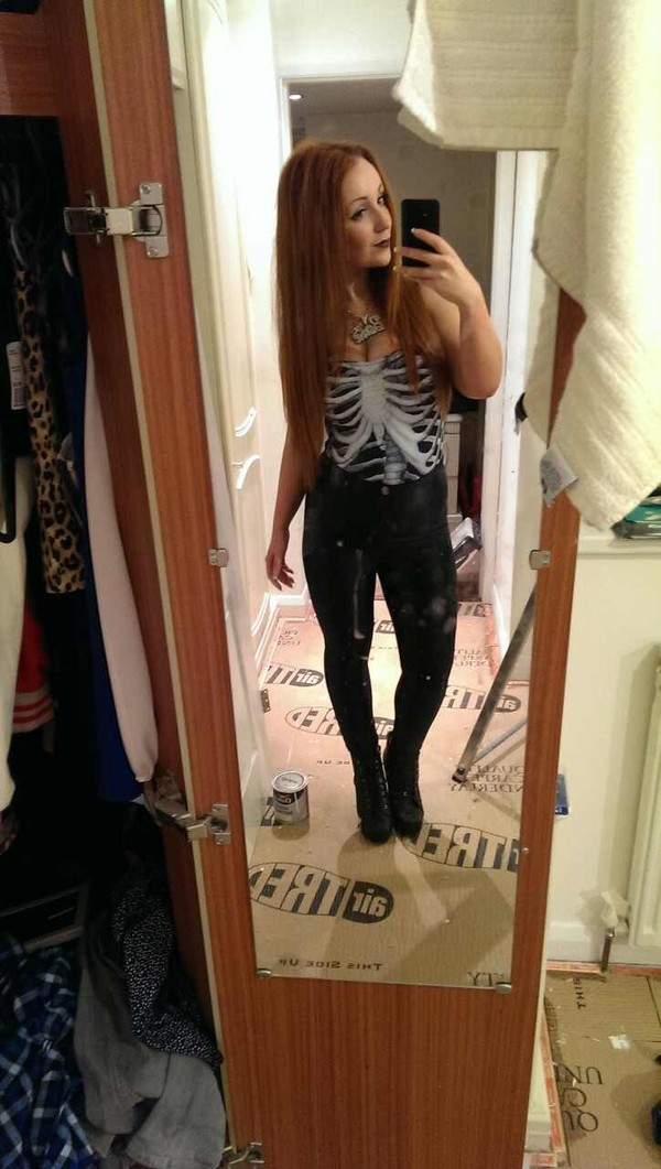 shirt skeleton black and white black white dark outfit cute long hair red head straight hair lovely cool bodysuit goth hipster hipster punk pastel goth