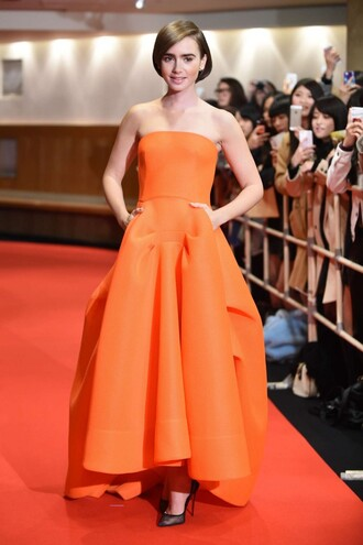 dress orange dress orange lily collins gown prom dress shoes rust