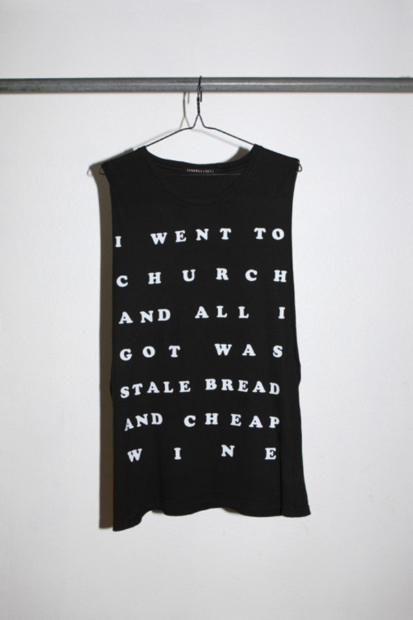 t-shirt shirt typography tank top church religion quote on it black white tank top top shirt t-shirt muscle tee