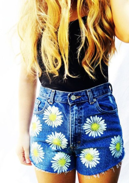 shorts cute shorts. summer High waisted shorts style summer shorts daisy blouse denim shorts