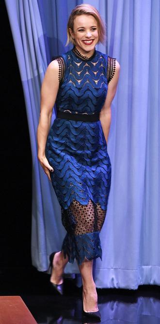 dress mesh rachel mc adams blue midi dress sheer see through dress blue dress