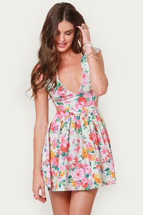 Cute Floral Print Dress - Cutout Dress - Eighties Dress - $46.00