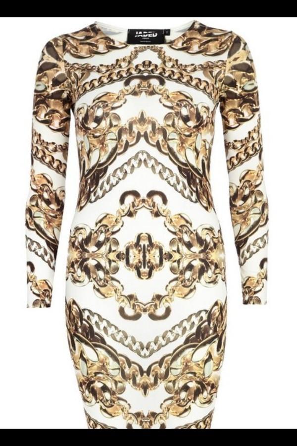 dress chain pattern gold white cute