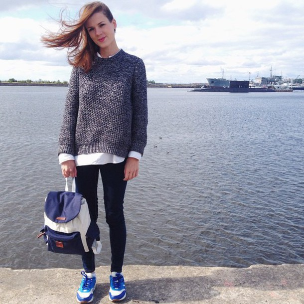 sweater backpack sneakers shirt black blue white shoes bag