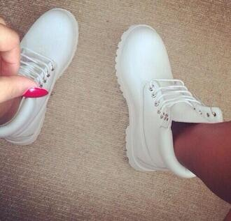 shoes timberlands white timberland white sneakers boots combat boots ankle boots brand white timberlands white shoes swag sneakers skirt