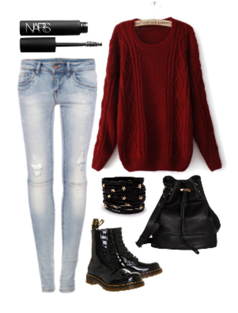 Sweater leggings jeggings mascara boots stud boots lazy day comfy comfy drmartens bag ...