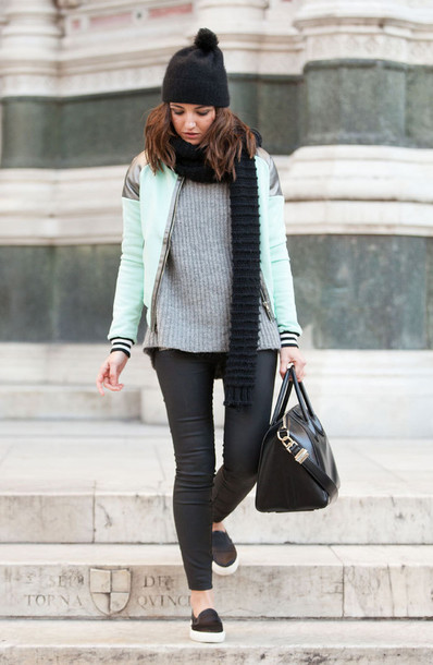 lovely pepa blogger leather pants skinny pants pom pom beanie mint baseball jacket black bag leather bag