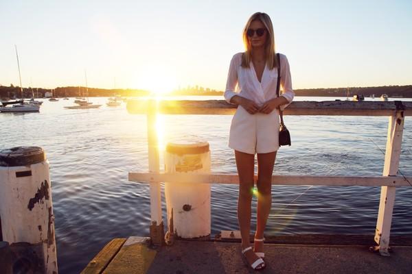 tuula shorts blouse shoes bag sunglasses jewels