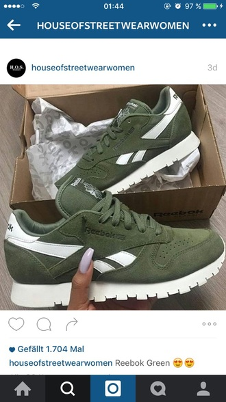 shoes reebok sneakers low top sneakers leather olive green green reebok runners instagram suede white love reebok classic khaki reebok suede sneakers khaki canopy green sneakers reeboks olive green canopy green tumblr outfit idea perfect trendy
