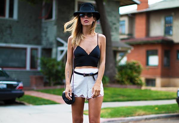 sunglasses top belt bag shorts