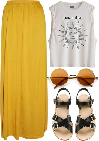blouse sun maxy skirt sunshine yellow paradise top skirt shoes sunglasses summer outfits shirt grunge summer hipster