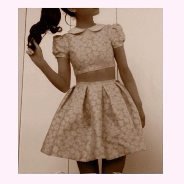 dress pink dress pink floral pink flowers crop tops skirt skater skirt skater dress ariana grande
