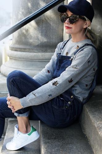 atlantic pacific blogger coat sweater shoes sunglasses skirt shirt top bag cat eye snapback long sleeves grey overalls