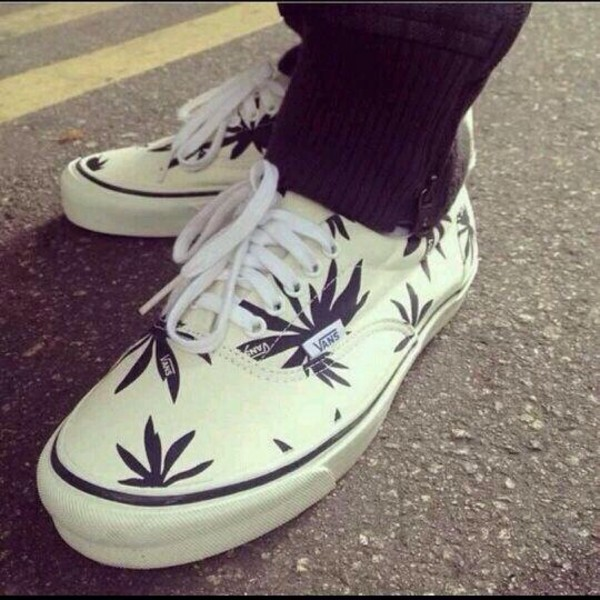 shoes vans authentic palms white true white hanf marihuana