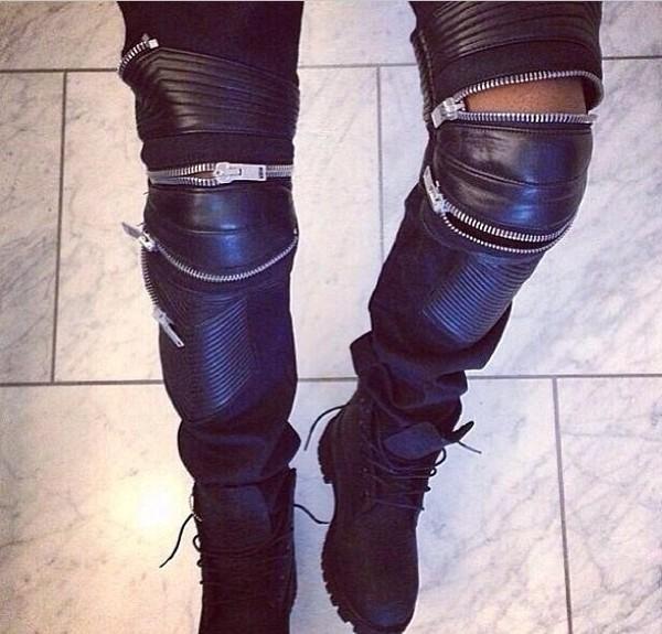 jeans black leather zip pants