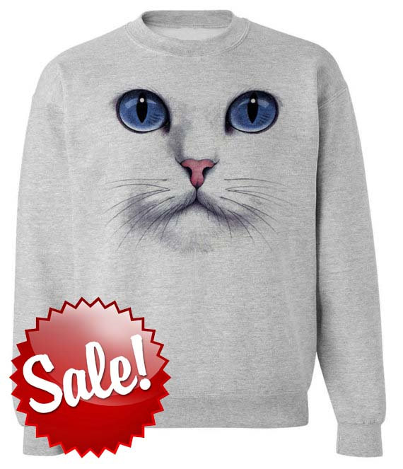 CAT FACE SWEATSHIRT unisex pullover crew neck   s by skipnwhistle