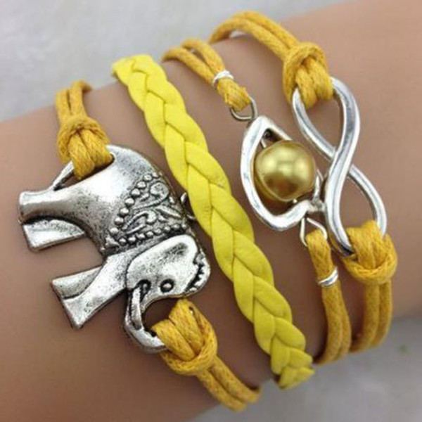 jewels bracelets silver yellow elephant