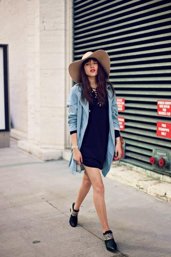 natalie off duty hat dress coat bag shoes