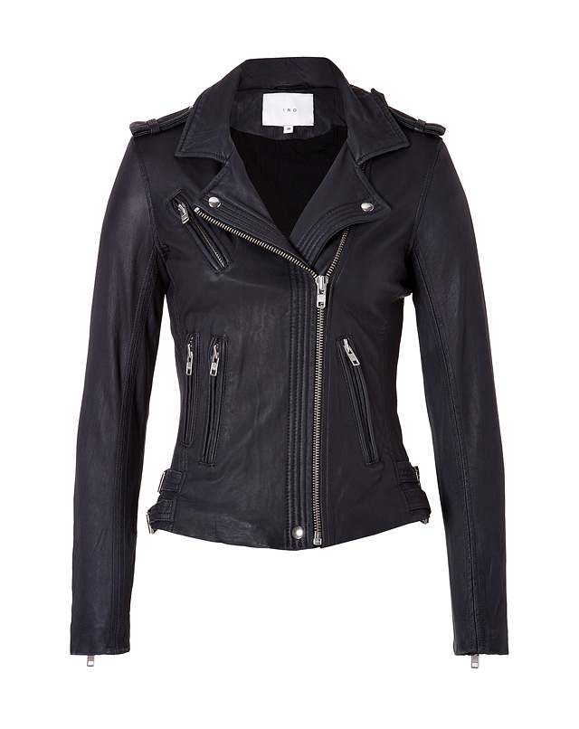 Leather Jacket in Navy from IRO | Luxury fashion online | STYLEBOP.com