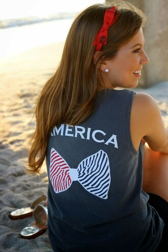 shirt america bow tank top summer cute