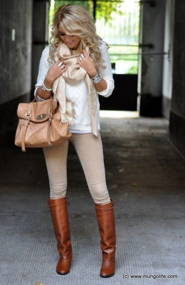 sweater white sweater beige scarf cream/tan pants bag jeans beaig jeans