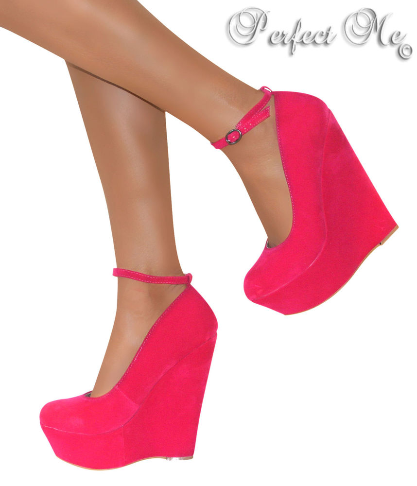 Ladies Pink High Wedge Heels Platform Strappy Party Shoe Sandal Ankle Prom Size   eBay