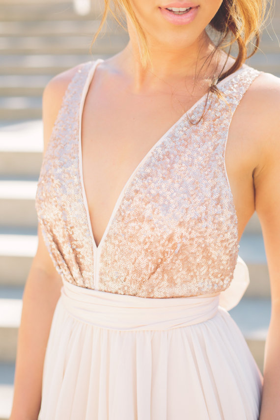 Julia // Rose Gold Sequinned Backless Wedding Dress by Truvelle