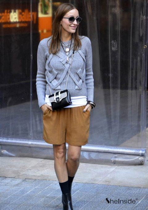 Grey Raglan Sleeve Cross Bandage Vertical Stripe Knitting Sweater - Sheinside.com
