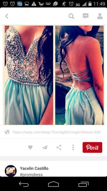 dress blue prom dress open back gemstone