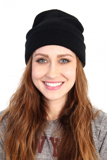 LoveMelrose.com From Harry & Molly | Solid Knit Beanie - Black